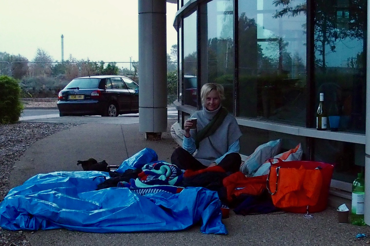 After  - Sarah at Clinco's sleep out in support of Porchlight