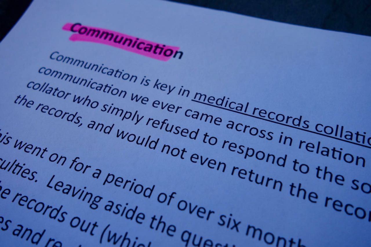 Communication is key in medical record collation